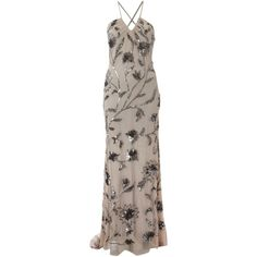 Adrianna Papell Halter long dress ($200) ❤ liked on Polyvore featuring dresses, gowns, long dresses, vestidos, taupe, women, halter neck maxi dress, halter top, adrianna papell dresses and halter gown