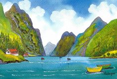 Original Watercolour Painting Fjord Norway Size 14ins x