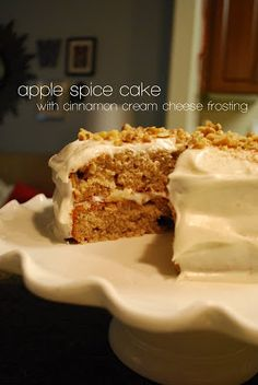 the dish on delish: apple spice cake with cinnamon cream cheese frosting