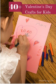 GREAT LIST of 40+ Valentine's Day Kids Crafts. Easy to do and fun for kids. The best part... you probably already have most of these craft supplies in your home!