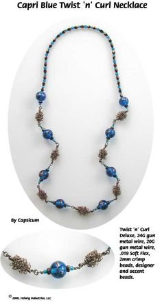 Capri Blue Wire Beads Necklace made with WigJig jewelry making tools and jewelry supplies.