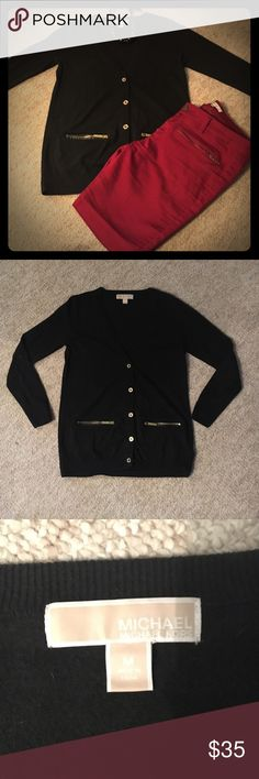 Black Michael Kors Cardigan Black MK cardigan with gold buttons and gold zippers.***20% OFF 2+ BUNDLES!****MAKE ME AN OFFER**** MICHAEL Michael Kors Sweaters Cardigans