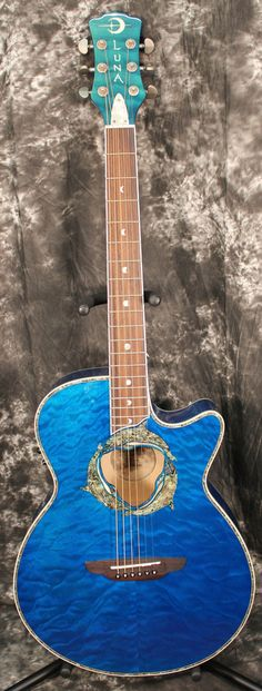 2014 Luna Fauna Series Dolphin Acoustic Electric Guitar