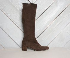 classic vintage 60s tall boots in dark chocolate suede