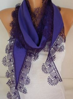 Purple Pashmina Scarf, Summer scarf Gift Ideas For Her Mom,Women Fashion Accessories, Lace Edge,birthday gift