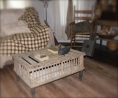 love the chicken crate coffee table....so cute!! I love my chicken crate!!