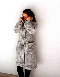 MADE to ORDER Knit Coat Knit Sweater CardiganGray hand knitted winter coat long sleeve Cardigan  large pockets and 4 bone button. (249.00 USD) by aysev