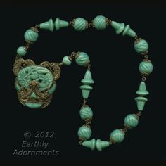 nlad826-1920s Peking glass and ornate brass pendant necklace