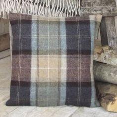 ' Chocolate & Petrol ' Tweed Cushion