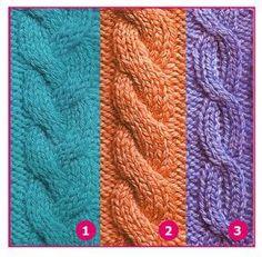 Tejer: 1. Trenzas 2. Cuerdas 3. Ochos Afghan Patterns, Stitch Patterns, Knitting Patterns, Knitting Stiches, Cable Knitting, Dress Neck Designs, Knitting Projects, Knitted Hats, Knit Crochet
