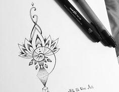 Dotwork lotus tattoo design