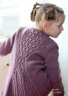 """Diy Crafts - """"Cabletta Junior"""" is a beautiful garment with an interesting hourglass shape on the back inspired by a store bought sweater. Shrug Knitting Pattern, Arm Knitting, Knitting For Kids, Knitting Projects, Christmas Knitting Patterns, Knit Patterns, Baby Scarf, Dress Gloves, Yarn Brands"""