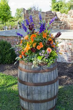 Multicolor Centerpieces - Twinbrook Floral Design - Fairfax Virginia Flowers and Container Flowers, Flower Planters, Container Plants, Garden Planters, Container Gardening, Gardening Tips, Flower Pots, Rustic Gardens, Outdoor Gardens