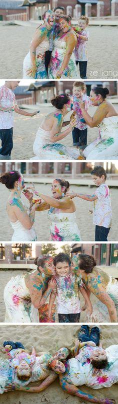 gay wedding paint war trash the dress + family session on the beach #cute #lesbian #colorful #samesex #lgbt