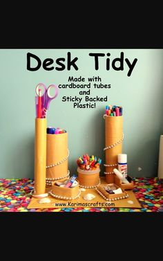 A Desk Tidy made by my 11 year old daughter! She made this all by herself from cardboard tubes of different sizes and sticky backed plast. Diy Arts And Crafts, Xmas Crafts, Crafts For Kids, Desk Tidy Diy, Sticky Vinyl, Dc Fix, Sticky Back Plastic, Cardboard Tubes, Frugal