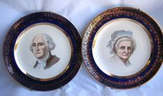 $42.95 VTG Pair George & Martha Washington Plates - 22k Gold Capsco Capitol Souvenir Co #Capsco