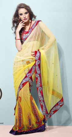 Gold And Red Net Lehenga Saree 16077 With Unstitched Blouse