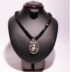 Black agate and mother of pearl necklace wire by BeyhanAkman, $54.00