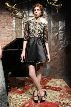 sharp shoes contrasted with a delicate dresses at alice + olivia fall 2013