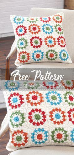 Crochet Pillow, Diy Crochet, Crochet Cluster Stitch, Fall Drinks, Tree Patterns, Cushions, Pillows, Beautiful Crochet, Copenhagen