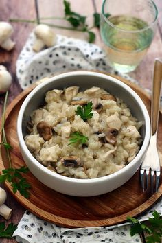 Risotto aux champignons et poulet - Amandine Cooking rizarborio Easy Smoothie Recipes, Healthy Smoothies, Healthy Snacks, Healthy Recipes, Czech Recipes, New Recipes, Snack Recipes, Ethnic Recipes, Salad Recipes