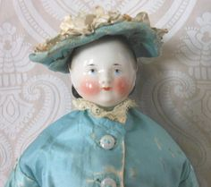 Antique German Glazed Porcelain China Head Doll by Kister with Swivel Neck and Alice Hairstyle
