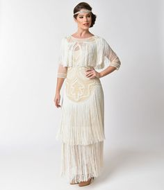 1920s Style Dresses 1920s Style Cream Pearl Beaded Mesh Glam Fringe Flapper Dress Maxi Gown $248.00 AT vintagedancer.com