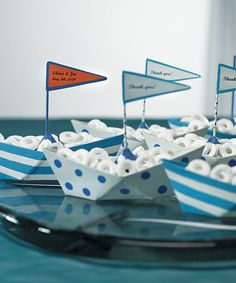 6 Nautical Theme Wedding Favor Mint Lifesaver Metal Beach Boats / Containers $30.49