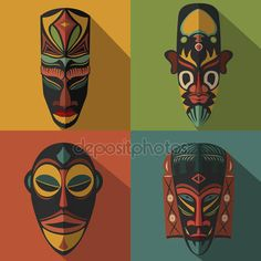 Set of African Ethnic Tribal masks on colour background — Stock Vector © keltmd #90267818