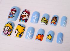 mario nails! These would be cute on Christmas!! #NintendoNails