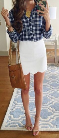 Love this! Monogram necklace and scalloped shirt