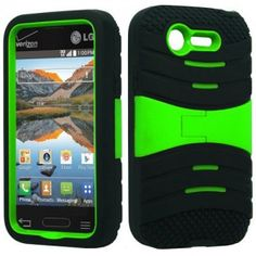 ccd8abb9024 Black   Neon Green Symbiosis Stormer Impact Shockproof Armor Kickstand Case  Cover + Atom LED Keychain Light for LG Optimus Fuel   (Straight Talk