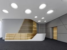 SCOPE Architekten GmbH designed the SAP meeting rooms located in Mannheim, Germany. The meeting room is located on a representative building corner, so Counter Design, Bar Counter, Reception Desk Design, Hospital Design, Lobby Design, Tiles Texture, Hotel Lobby, Meeting Rooms, Foyer