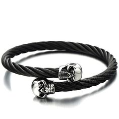 Elastic Adjustable Mens Skull Bangle Bracelet Stainless Steel Twisted Cable Cuff Bracelet Silver Black Two-tone Polished