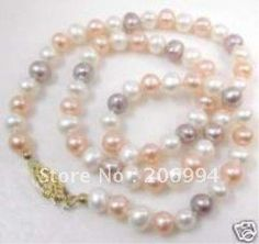 wholesales Multicolor 7-8MM Fresh Water Pearl Necklace pearl Jewelry,gift, free shipping