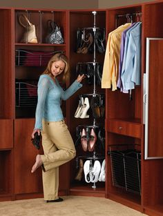 Transform your walk-in and reach-in closets with Tailored Living's custom closet storage solutions. Smart Storage, Closet Storage, Closet Organization, Organization Ideas, Storage Ideas, Corner Wardrobe, Walk In Wardrobe, Corner Closet, Front Closet