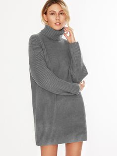 Shop Grey Turtleneck Drop Shoulder Sweater Dress online. SheIn offers Grey Turtleneck Drop Shoulder Sweater Dress & more to fit your fashionable needs.