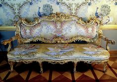 Silk   upholstery handmade gilt settee Russian  1750 after a drawing by FB Rastrelli, designed  specifically for the halls of the Great Palace, Tsarskoye Selo, XVIII century
