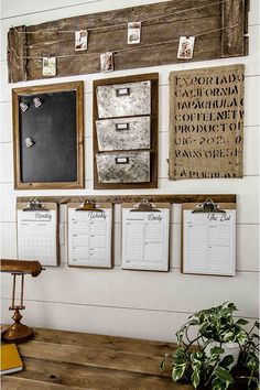 A Rustic Style Home Command Center Perfect for a Small Space. How to design a rustic farmhouse style command center for your small home office or entryway. Create a drop zone to keep your home organized. A great small space solution for a home office.