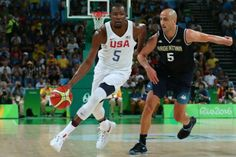 Kevin Durant drives against Manu Ginobili of Argentina during Olympic play.