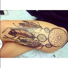 Dream Catcher Tattoo On Thigh Delectable 36 Meaningful Dreamcatcher Tattoo Designs  Dreamcatcher Tattoos Design Ideas