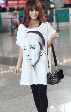 #SheInside White Womens Face Short Sleeve Long T-shirt - Sheinside.com