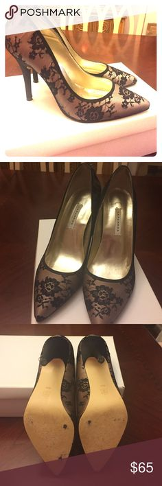 Caparros Black/Taupe Lace formal dress heels 🙋🏻💥💥Worn twice out! I love these lace heels! Great with skinny jeans, leather shorts, lace dress, LBD, and more. Great statement piece.👌🏼💥💥 Caparros Shoes Heels