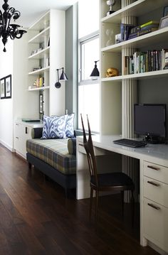 Pappas Miron Interior Design: Fantastic office area with plaid daybed and black glass chandelier. Built-in desk and ...