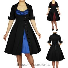 RK91 Rockabilly 50s Side Button Party Pin Up Evening Retro Swing Formal Dress in Clothing, Shoes, Accessories, Women's Clothing, Dresses | eBay