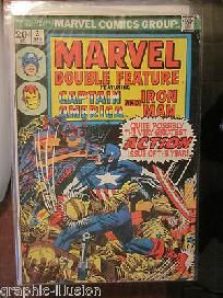 Marvel Double Feature #3  Nice Shape Jack Kirby Capt. America and Iron Man -- from Marvel; For sale: graphic illusion comics and art