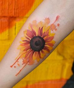 Watercolor Sunflower by Joice Wang watercolor tattoo Wonderful Watercolor Tattoos for Women - TattooBlend Watercolor Sunflower Tattoo, Sunflower Tattoo Sleeve, Sunflower Tattoo Shoulder, Sunflower Tattoo Small, Sunflower Tattoos, Sunflower Tattoo Design, Watercolor Tattoos, Sunflower Mandala Tattoo, Floral Watercolor