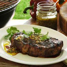 Grilled New York Strip Steak with Ginger Chimichurri Read more at https://www.kingsford.com/recipe/786/grilled-new-york-strip-steak-with-ginger-chimichurri/#7UMtZqg4HLVgDabD.99