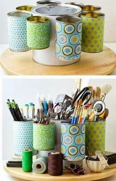 16 brilliant and easy diy ideas proyectos diy storage organiser, tin can cr Craft Room Storage, Craft Organization, Diy Storage, Storage Ideas, Storage Solutions, Organizing Tips, Craft Rooms, Creative Storage, Makeup Storage