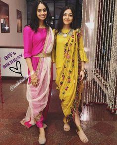 Some fun and glam ways of wearing sarees for bridesmaids -Awesomelifestylefashion Sari, Saree Dress, Dhoti Saree, Lehenga, Sharara, Indian Designer Outfits, Designer Dresses, Indian Designers, Indian Attire